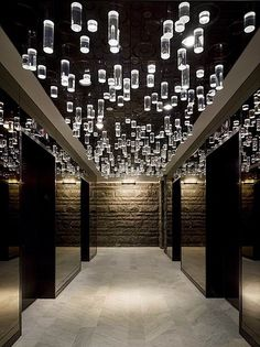The Standard Hotel, New York, Interior design by Roman and Williams Hotel Lobby Design, Commercial Design, Commercial Interiors, Interior Lighting, Lighting Design, Lighting Ideas, Modern Lighting, Corridor Lighting, Ceiling Lighting