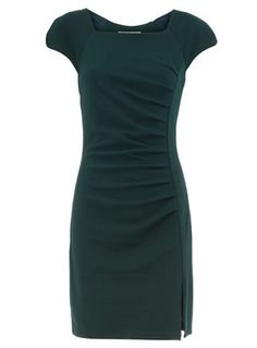 I am on a quest for the perfect green dress. I like the square neckline, slit, and cap sleeves on this one.