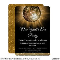Any Age Birthday Party Gold Disco Ball Party Invitation. The Gold and Black Sparkle Disco Ball Birthday Party Invitation is perfect for a modern themed Gold Birthday Party. Invitation Fete, Carton Invitation, Gold Invitations, Birthday Invitations, Holiday Invitations, Custom Invitations, Invite, Gold Birthday Party, 30th Birthday Parties