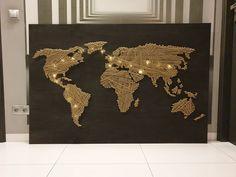 #world #inspiration #map #handmade #pin #destination Me On A Map, String Art, Maps, World, Handmade, Crafts, Inspiration, Biblical Inspiration, Hand Made