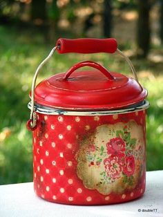 red and white polka dots tin storage