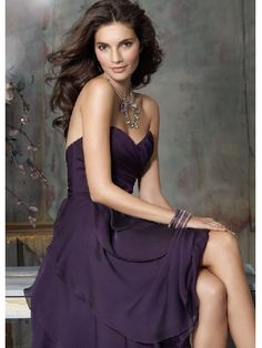 Bridesmaid Dresses Plum Luminescent Chiffon Sweetheart Neckline Sleeveless Knee Length Hemline (B D 000360)