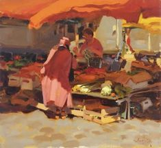 Kim English (American, born 1957) Red Market Day, oil on canvas, 13 x 14 inches