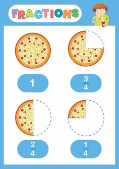 Fractions pizza eduation poster vector image on VectorStock Free Fraction Worksheets, Math Fractions Worksheets, School Worksheets, Maths, Fractions For Kids, Pizza Fractions, Math Logo, English Grammar For Kids, Math Drills