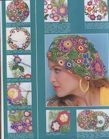 Meraviglioso cappellino a motivi floreali!!! Schema.