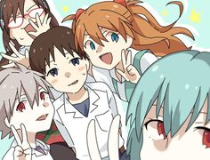 Five pilots from rebuild of Evangelion. So cute