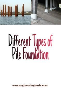 Pile foundations are classified under deep foundations. A pile is a slender column made of wood concrete or steel. A pile is either driven into the soil or formed in situ by excavating a hole and then filling Foundation Engineering, Deep Foundation, Load Bearing Wall, Different Types, Concrete Wood, Civil Engineering, Made Of Wood, Floor Plans, Construction