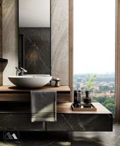 ~ loving the details and that view!! ♡♡♡ #bathroom #design