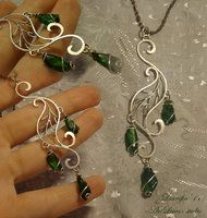 Wire leaf with diopside by Laurefin-Estelinion
