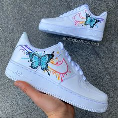 Butterfly Drip 🌈 by croissantcustoms Cute Nike Shoes, Cute Nikes, Cute Sneakers, Nike Custom Shoes, Customised Shoes, Nike Air Force One, Nike Shoes Air Force, Jordan Shoes Girls, Girls Shoes