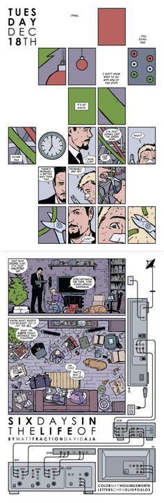 Hawkeye #6 (2012). Matt Fraction, writer; David Aja, artist; Matt Hollingsworth, colorist. Seems like 'modernist' influences from David Mazzucchelli and Chris Ware are making it into contemporary superhero comics...