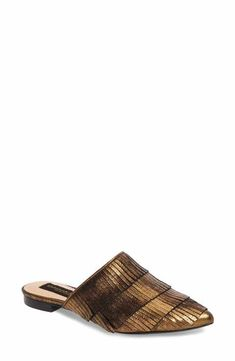 Donna Karan Paisley Fringe Mule In Brass Leather Low Heel Shoes, Low Heels, Women's Shoes, Loafer Flats, Loafers, Donna Karan, Womens Flats, Ballet Flats, Me Too Shoes