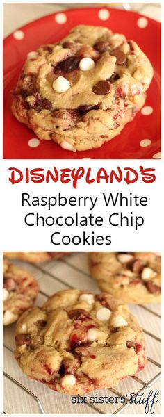 Disneyland's Raspberry White Chocolate Chip Cookies | You will love these big chewy raspberry swirled white chocolate chip cookies. Taste just like the ones downtown Disney at La Brea Bakery Cafe!