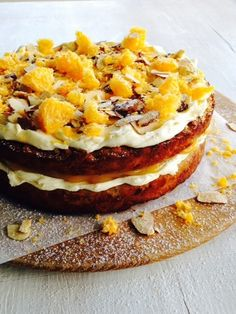 Winter means warm spices, luscious oranges and the natural sweetness of root vegetables – they all combine beautifully in this dense, moist carrot cake. Lemon Cream Cake, Moist Carrot Cakes, Almond Cakes, Sweet Potato Recipes, Foods With Gluten, Cupcake Cakes, Cupcakes, Gluten Free Baking, Orange