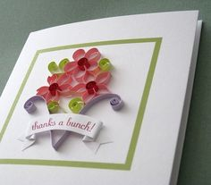 Beautiful paper quilling greeting card in shades of pink for all quilling flowers pdf pattern tutorial 500 via etsy m4hsunfo