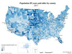 Population 85 years and older by U. United States Map, Sarasota Florida, North Dakota, Cartography, Countries Of The World, Nebraska, New Mexico, Usa Maps, Past