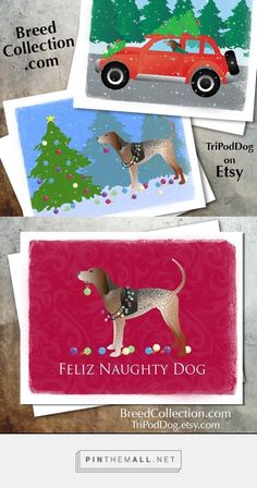 ❤ American English Coonhound Dog Christmas Cards from the Breed Collection - Digital Download Printable - on Etsy