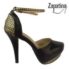 Tacón gold / $99.000 / Garantía 60 días / Material sintético / Altura tacón 7 y medio / Domicilio gratis en Medellín / Envíos a todo el país ✈️ / Pedidos al 310 544 1615 / www.zapatina.co #Zapatina #Zapatos #Moda #Tacón #Mujer