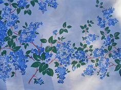 Vintage Blue Lilac Tablecloth