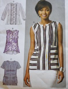 Collarless Knit Top Sewing Pattern, McCalls M7390, Tunic Top by BluetreeSewingStudio on Etsy