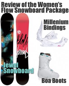 All About the Women's Flow Snowboard Package and What People Think. Includes Jewel Snowboard, Millenium Bindings and Flow Boa Boots.