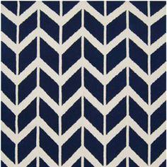 Navy blue and cream/white rug