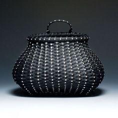 Polka dot Shaker wall basket by JustaBunchofBaskets on Etsy, $650.00