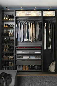 22 Must-See Closet Designs Having an organized closet makes getting ready in the morning so much easier. With the PAX/KOMPLEMENT wardrobe system you can choose frames in finishes to suit your style and customize the organization inside to suit your needs. Closet Walk-in, Men Closet, Master Closet, Closet Space, Closet Ideas, Wardrobe Ideas, Black Closet, Master Suite, Closet Mirror