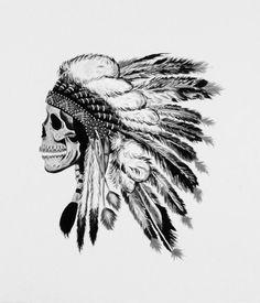 Indian Skull Tattoo Sketch