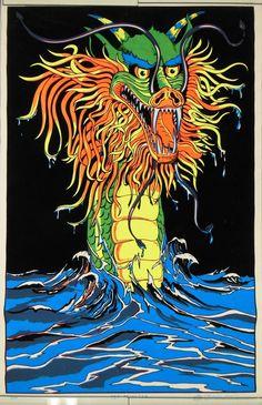Black light Poster Sea Monster #Vintage #80s 1981 Rare