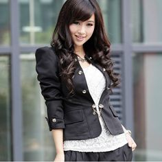 Fashion Skinny Back Bow Tie Long Sleeves Black Women Suit