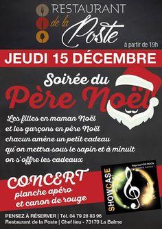 Soirée du Père-Noël au restaurant de La Poste à La Balme (73 170) ! Venez nombreux !