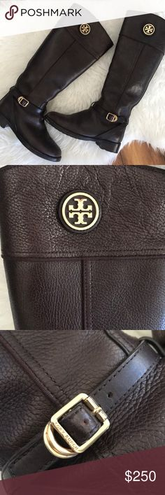 Tory Burch Teresa Riding Boots Brown with gold hardware. 100% Authentic in excellent used condition. They are 7.5. I wear a 7 and they fit with enough room to wear thick socks 😉 so they will definitely work for someone who wears a 7-7.5 color name is Coconut Tory Burch Shoes Combat & Moto Boots
