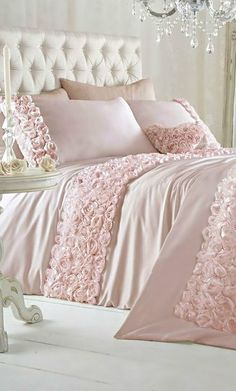 Pink frilly bed linens