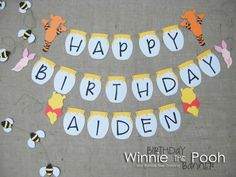 Winnie The Pooh Birthday Banner  Bumble Bee by JacqsCraftyCorner