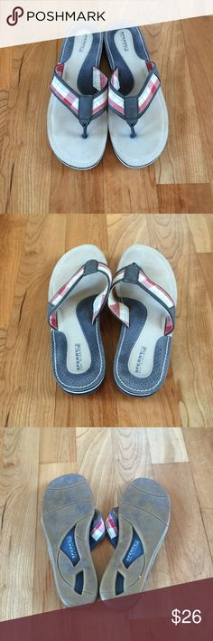 Sperry Top-Sider Flip Flops Size 9 Sperry Top-Sider Flip Flops. Plaid with blue, red and light yellow. Blue leather on straps and toe post. Cushioned foot bed. Only worn twice! Excellent condition! Sperry Top-Sider Shoes