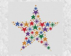 Rainbow stars cross stitch pattern modern counted cross