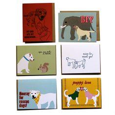 Fab.com   Dog Cards 6 Pack La Familia Green