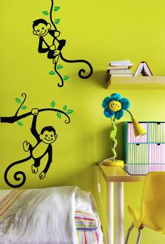 For the playroom - Monkeys Wall Decal  2 Monkeys Hanging on a Branch  by CherryWalls, $39.00