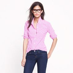 I don't have any Gingham shirts yet, but I think I need one... J.Crew Perfect shirt in mini-gingham