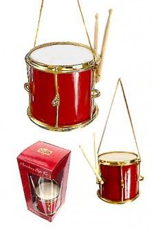 Red and Gold Drum Ornament $9