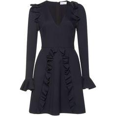 Zuhair Murad Cady Ruffled Mini Dress ($2,705) ❤ liked on Polyvore featuring dresses, blue mini dress, blue dress, flared dresses, long sleeve flare dress and short dresses