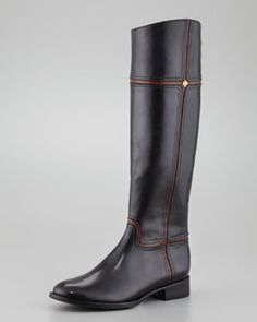 X1PVT Tory Burch Juliet Two-Tone Riding Boot, Black/Almond