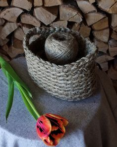 knitted basket from linen #linen #knittedbasket #basket #interior
