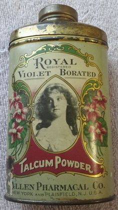 VTG Royal Violet Borated Talcum Powder Tin & Contents 1930's Allen Pharmacal Co. #RoyalVioletBoratedTalcumPowder