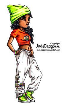 Hip Hop Dancer - Colored by JadeDragonne.deviantart.com on @DeviantArt