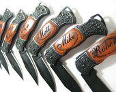 Set of 6 Personalized Engraved Rosewood Handle Pocket Hunting Knife Knives Groomsman Best Man Ring Bearer Gift. $132.00, via Etsy.