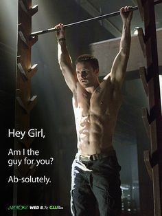 This is a still from the upcoming CW series, ARROW.  The CW is making cute greeting cards out of some of them.
