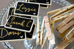 Use small chalkboard tags for modern place cards.