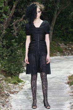 central draping, button front, neckline interest  Chanel, SP'13 Couture, Paris Fashion Week